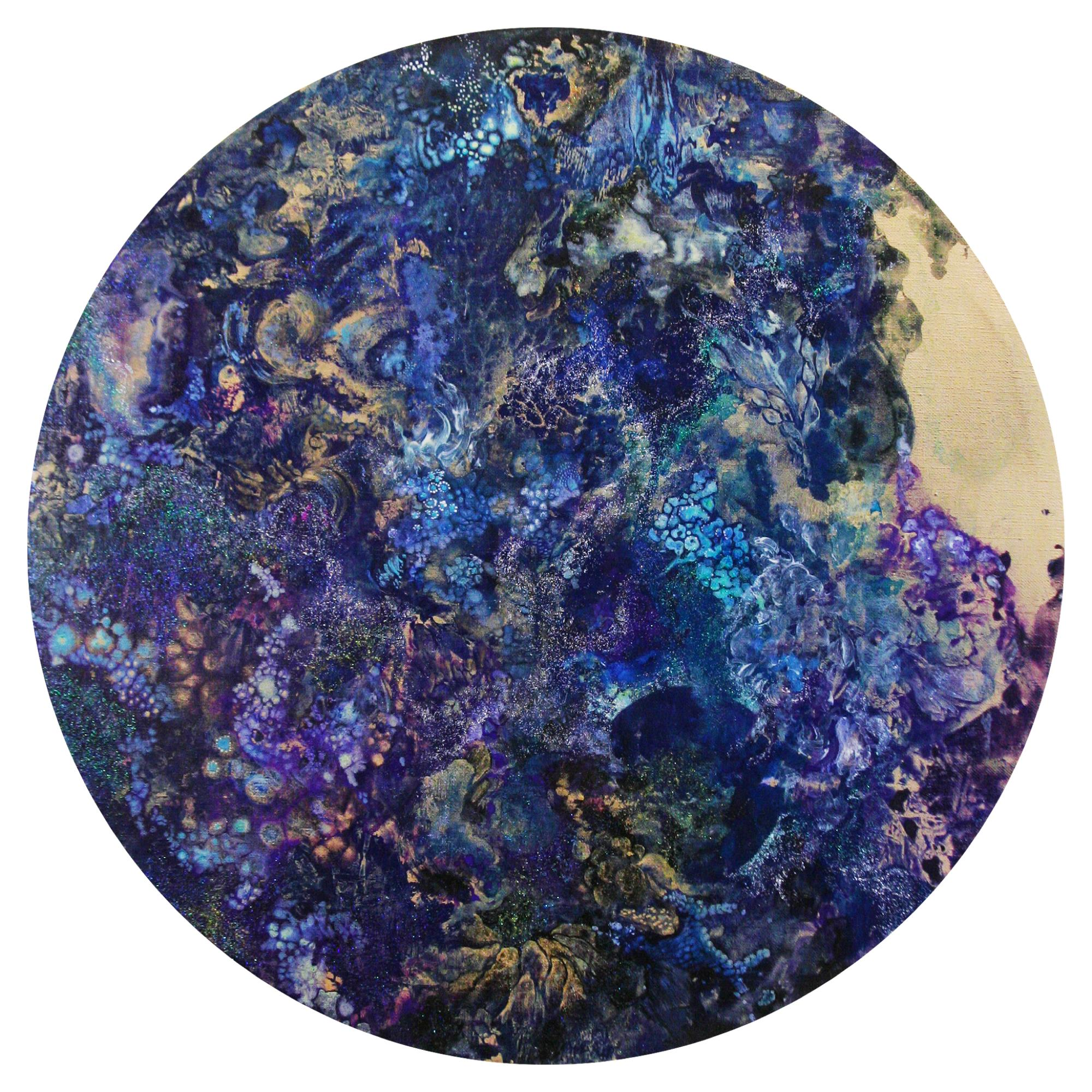 Microcosmos shan shui  2014  Acrylic and Metal powder on canvas  53cm diameter