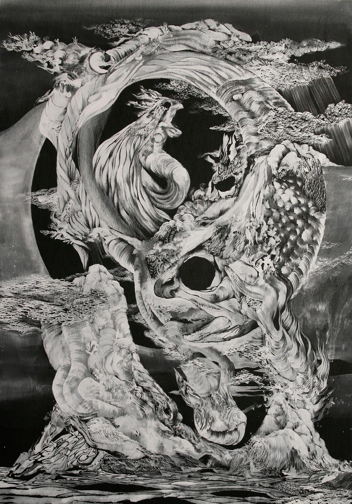 The black moon ( Fish)  2007  Acrylic on board  H59.3cm x W83cm