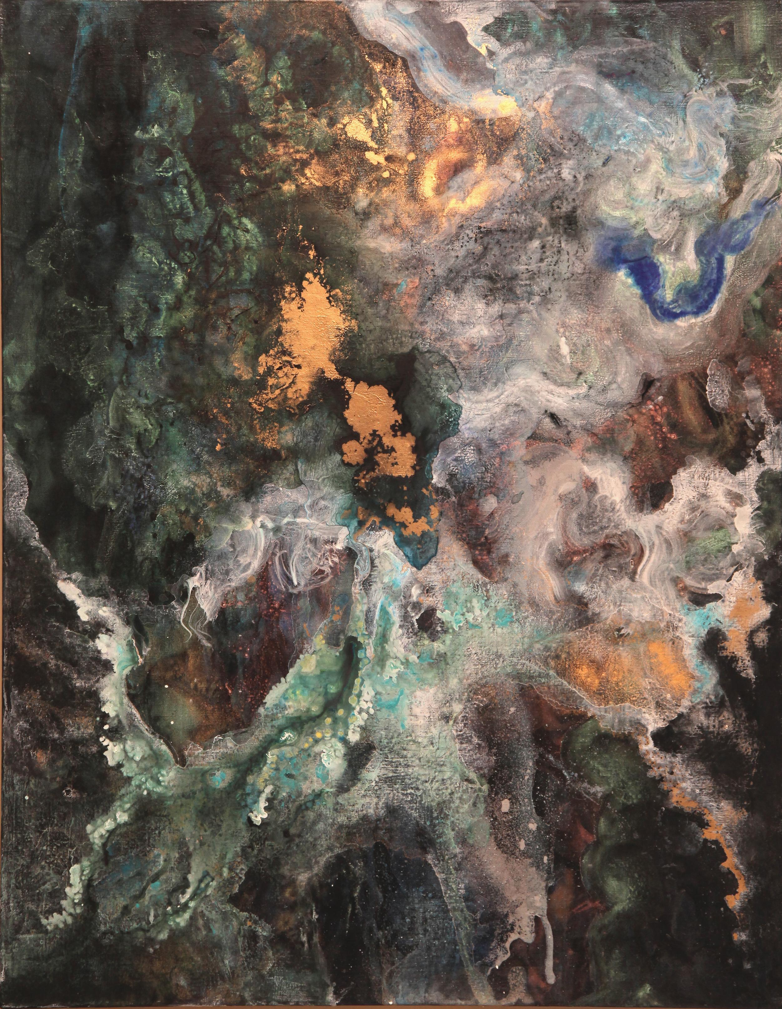 garden  2014  Acrylic and metal powder on canvas  H117cm x W91cm