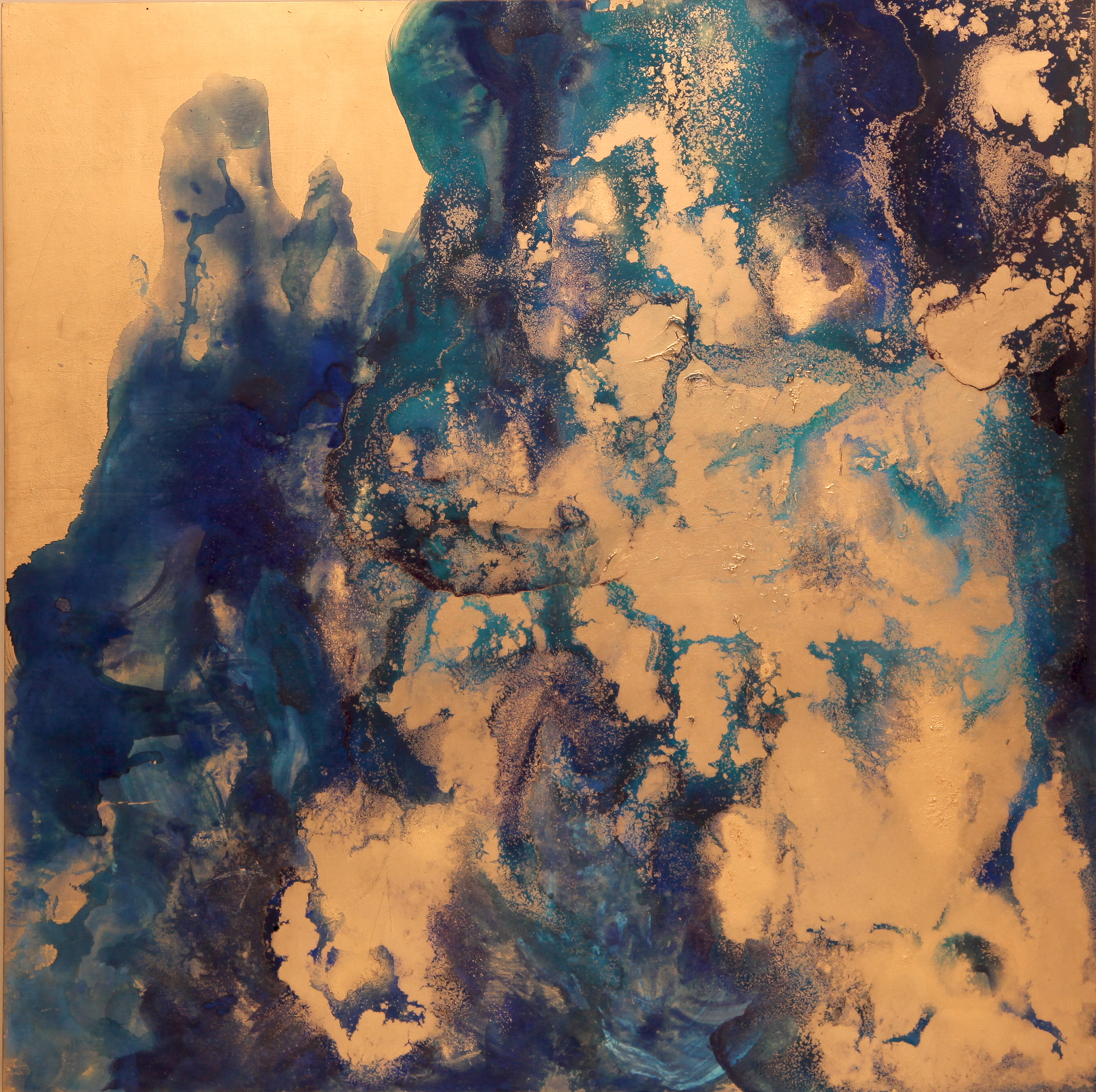 Untitled ( golden shan shui )  2014  Acrylic and metal powder on board  H91cm x H91cm