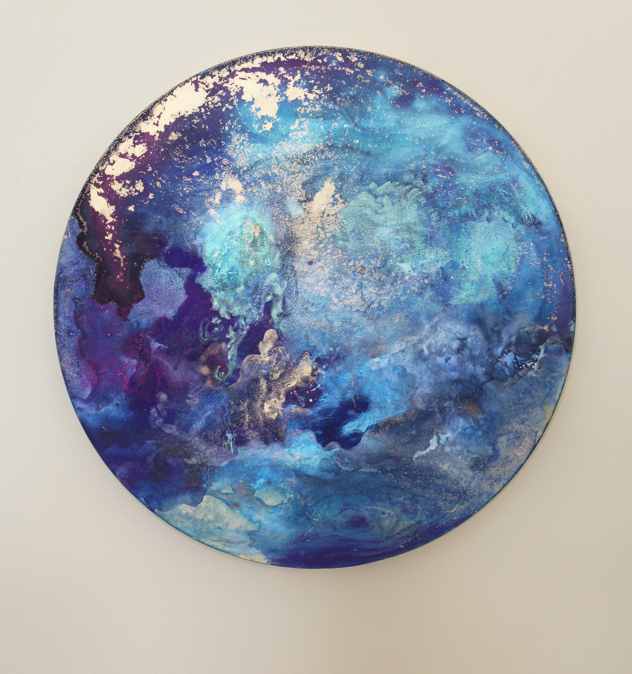 M7  2014  Acrylic and metal powder on board  41cm diameter