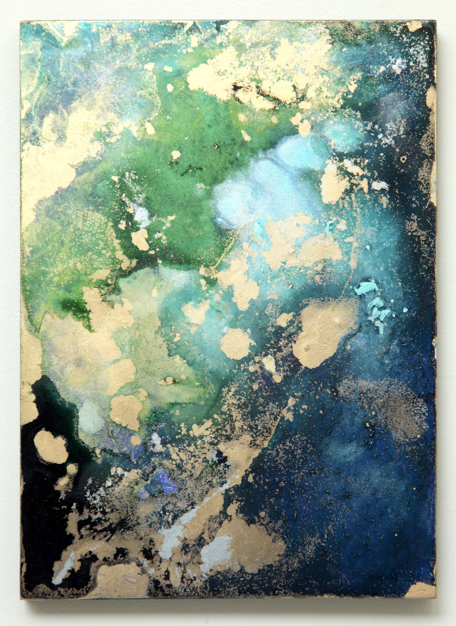 T14 ( Green Land)  2015  Acrylic and metal powder on board  H33.3cm x W24.1cm