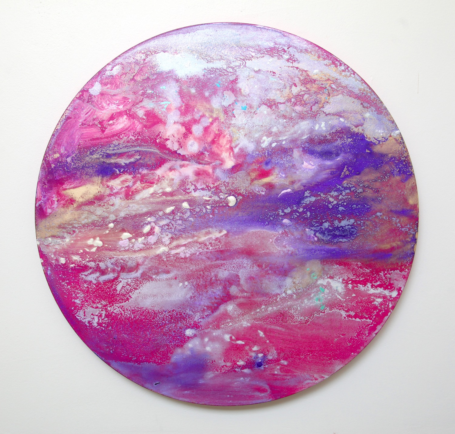 T17  2015  Acrylic and metal powder on board  53cm diameter