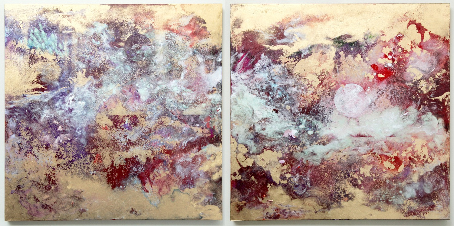 Two Moon ( RED)  2015  Acrylic and metal powder on board  H41cm x W41cm each