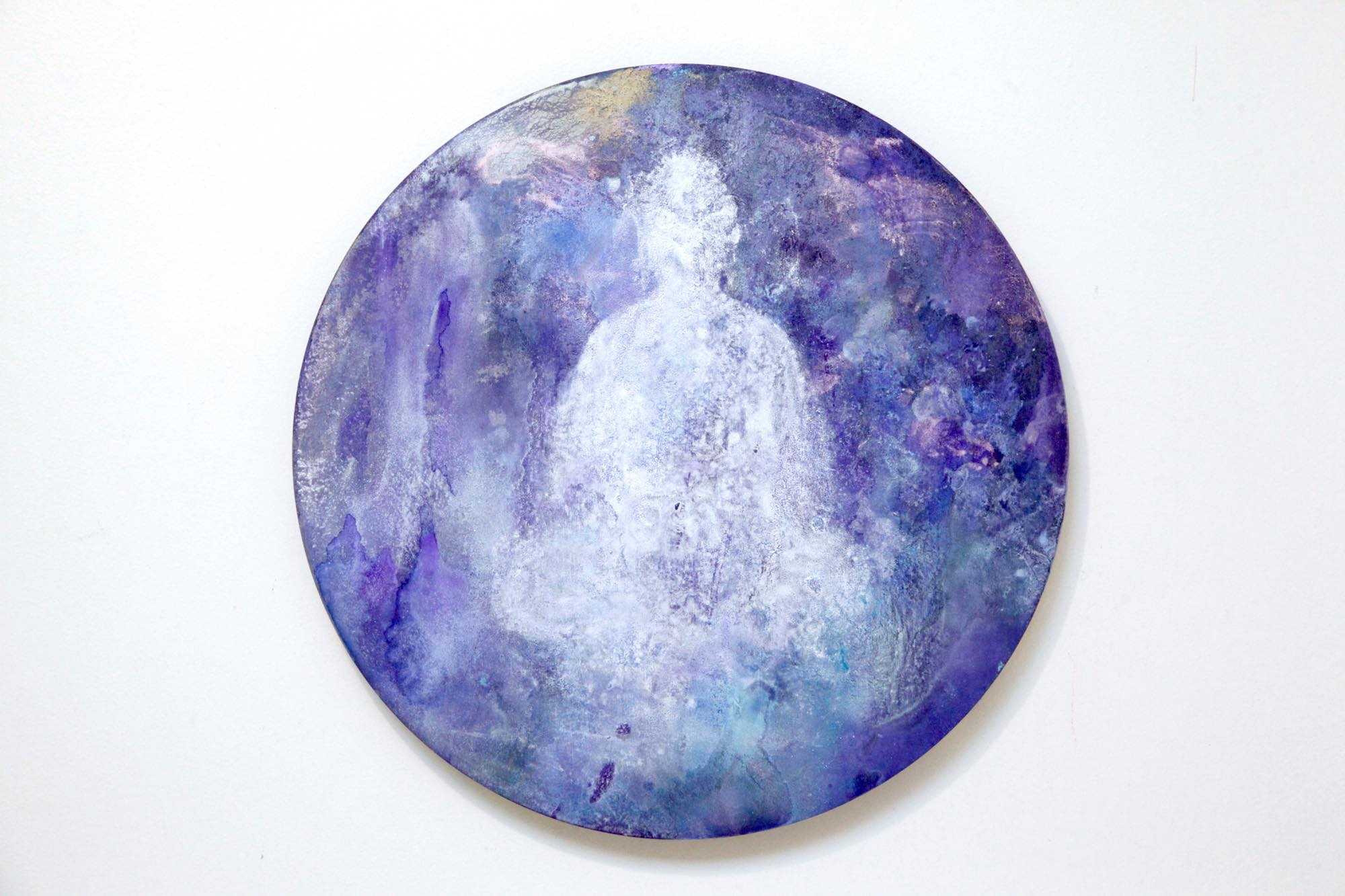 Mindself  2016  Acrylic and metallic powder on board  41cm diameter