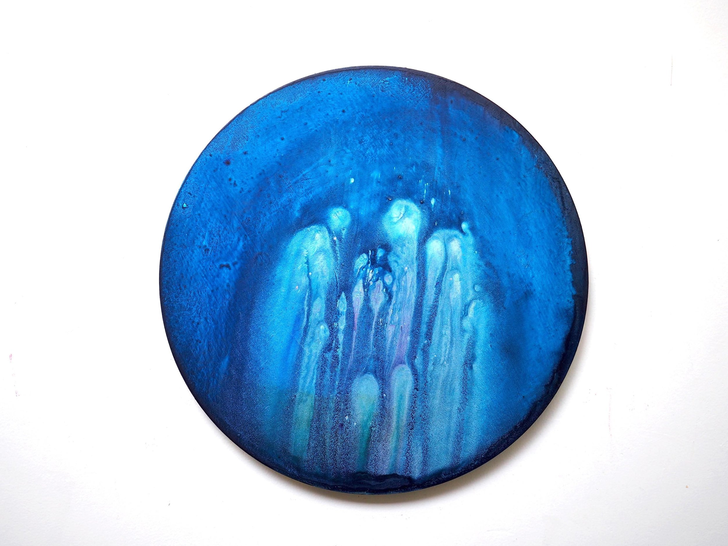 2016  Acrylic ,mineral pigment powder and metallic powder on board  41cm diameter