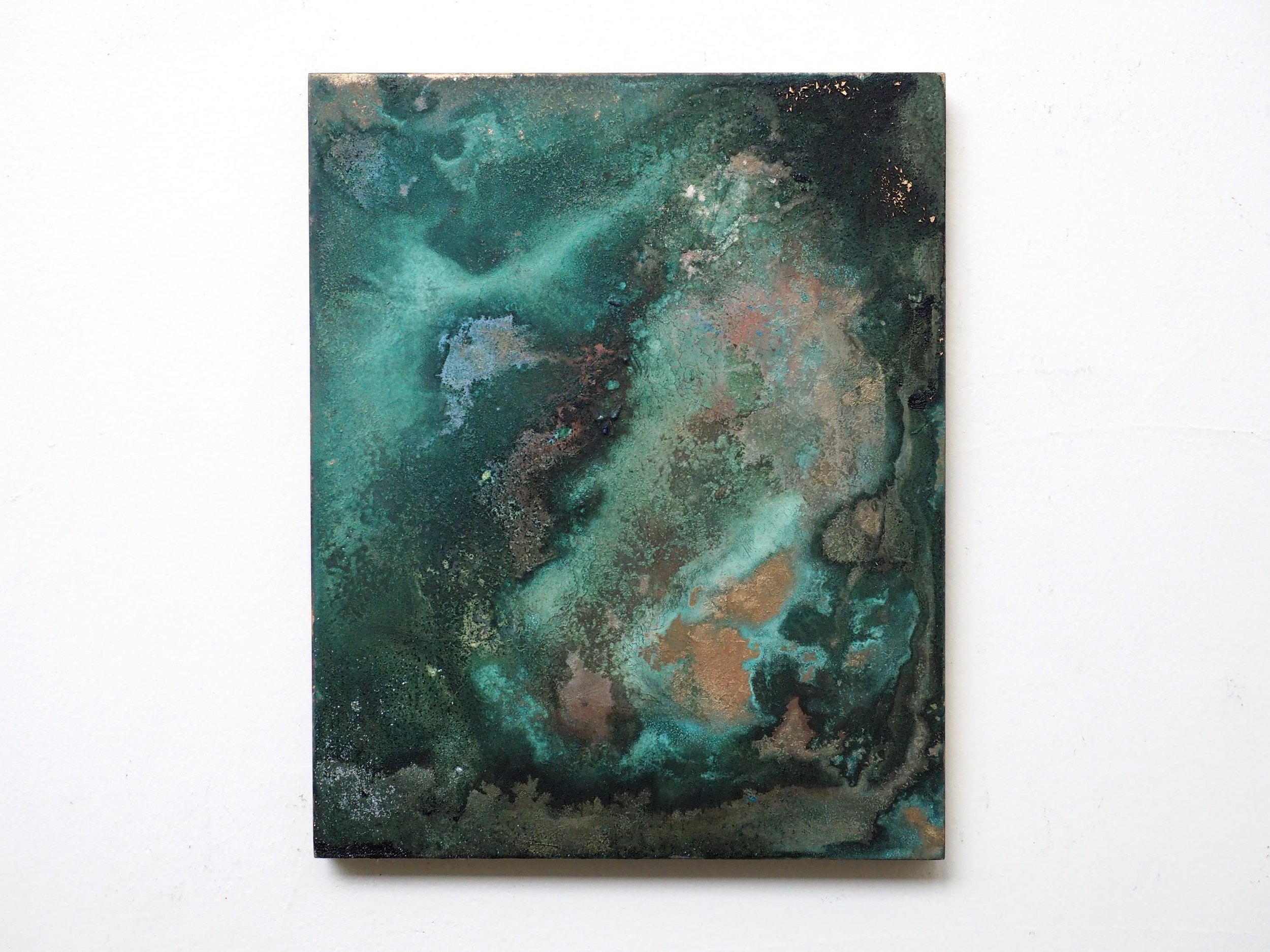 """ The transience of Patina Paintings ""  2016  Mineral pigment powder, Brass powder and soy-sauce on board  H 27.3cm x W 22.0cm"