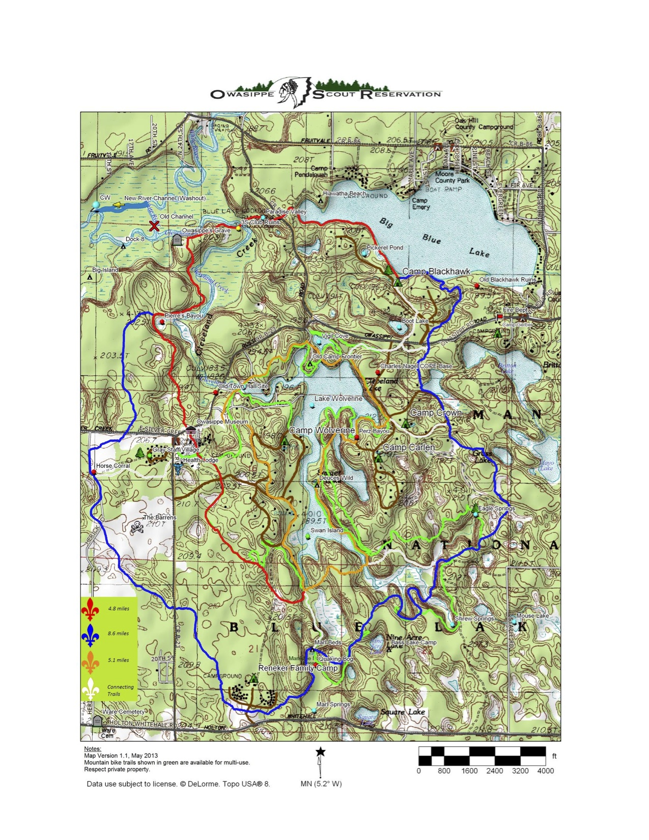 Owasippe Trail Map (Click on map to enlarge)