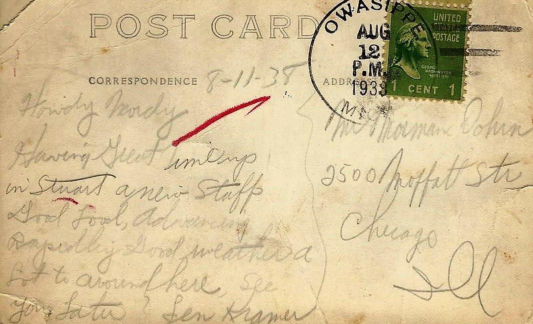 Postcard Note 1938