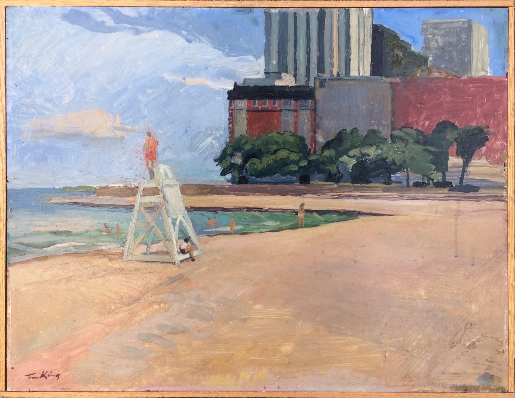 """Timothy King , """" Oak Street Beach 2,"""" oil on panel, 16 x 20 inches (retail value $2000)"""