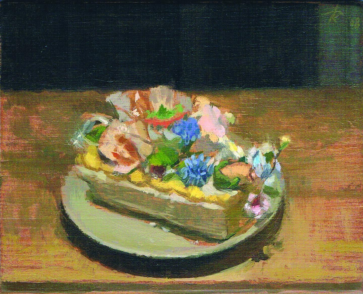"""Matt Klos , """"Confection Bouquet"""" Oil on panel, 4""""x5"""" (retail value $500)"""