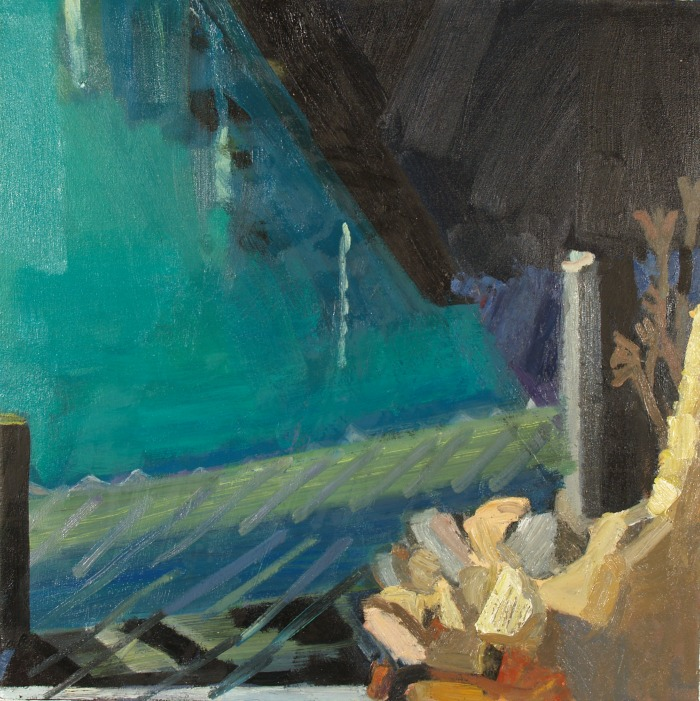 """Lynette Lombard , """"Pool and Rocks,"""" oil on canvas, 30″x 30″ (retail value coming soon)"""