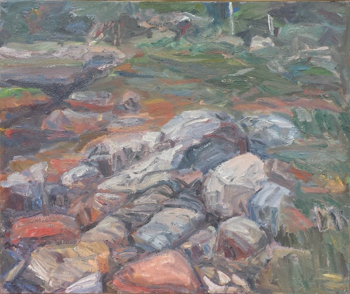 """Ruth Bernard , """"Rocky Shore, Maine"""" oil on linen, 30""""x36"""" (retail value $4000)"""