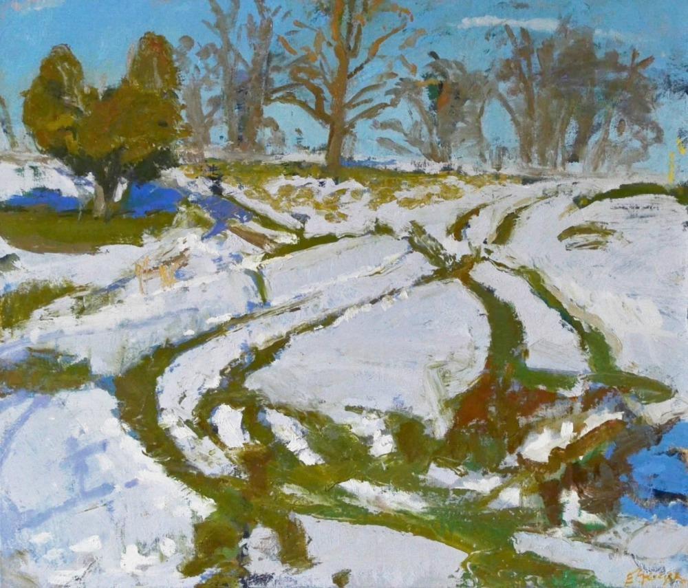 Snow Tracks 2, oil on canvas