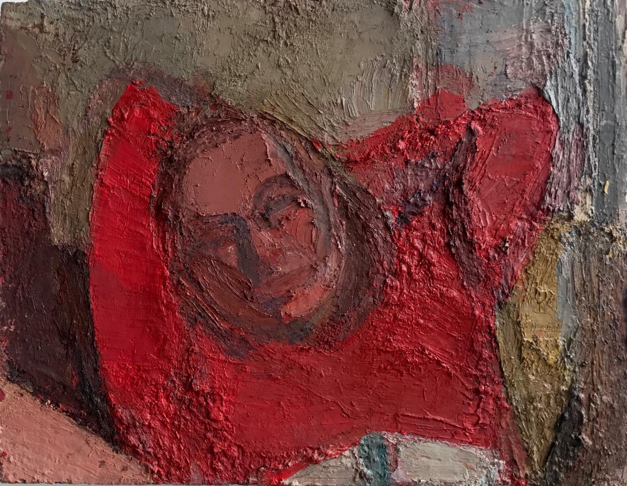 """John Dubrow, Red Shirt, Evening. 2015-17, 28 x 36"""", oil on linen"""