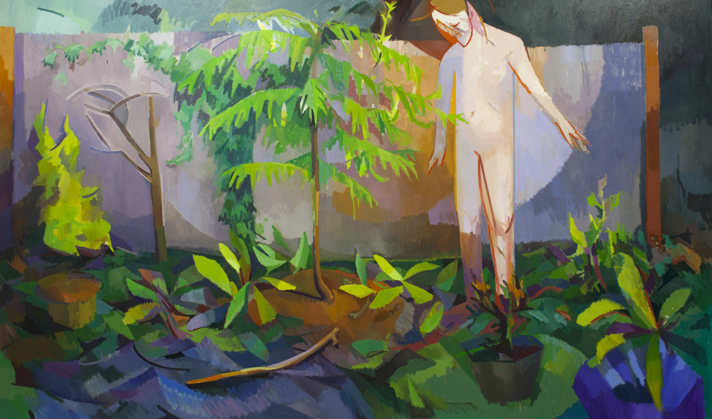 """Watching Things Grow,"" oil on canvas, 70""x 140"""