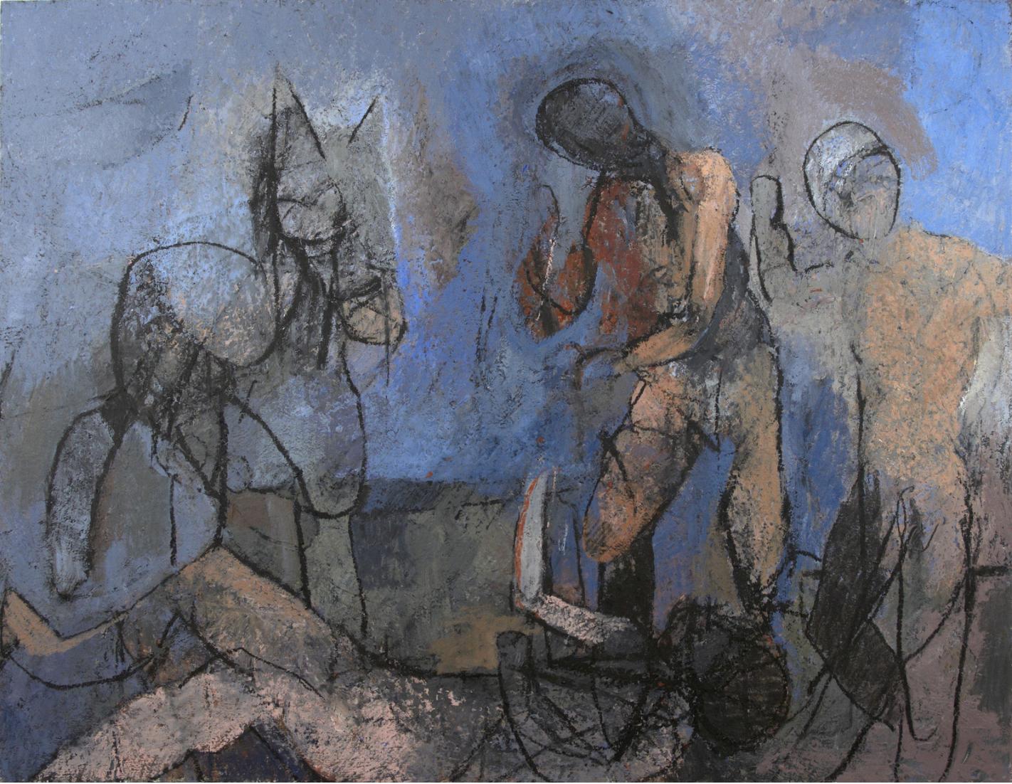 "Thaddeus Radell, ""The Fallen Horseman""  48 x 62"""