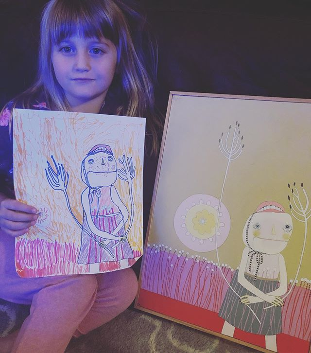 Robin's godmother is @meglionelmurphy, which means she of course has an inner burning desire to constantly draw. She's obsessive about it. Tonight she asked her dad to collaborate with her on recreating this @jenniferdavisart painting we have hanging up in our living room. ✨