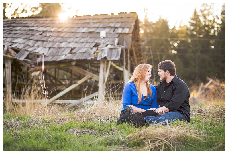 Bonney Lake sunset barn engagement
