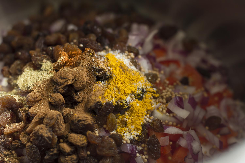 Spice mixture and sultanas in Apricot Sultana Chutney  © 2014 Helena McMurdo