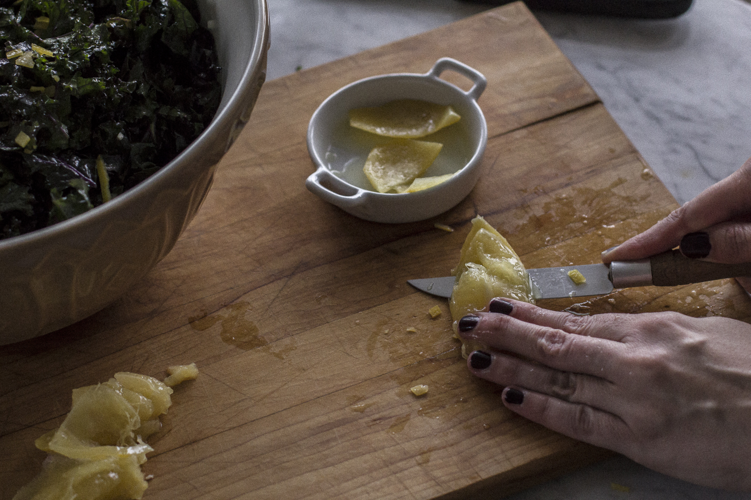Removing the rind from the flesh. Preserved Lemons. Helena McMurdo Photography on Endless Picnic.