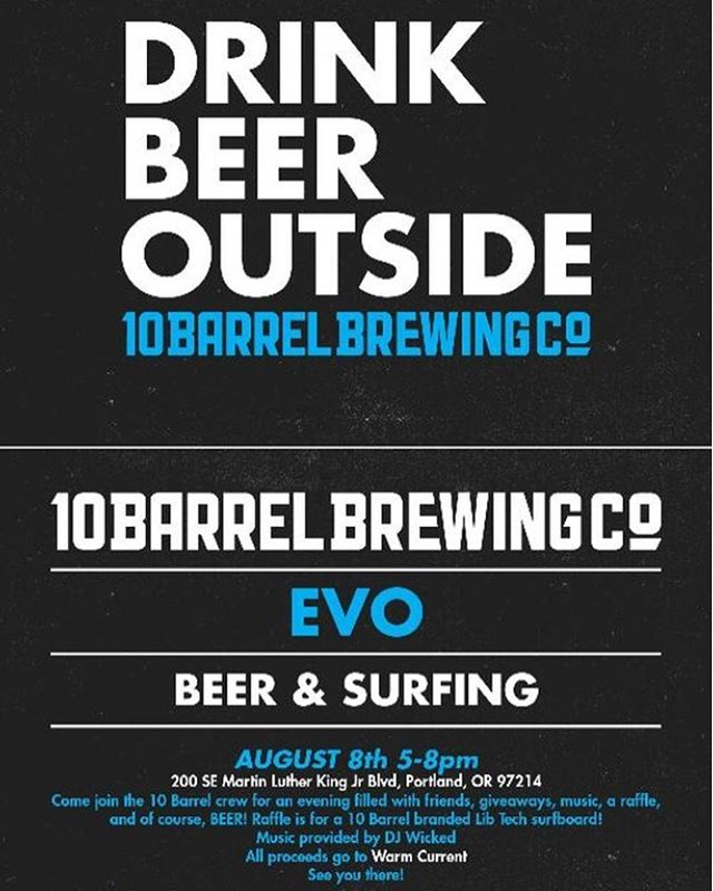 Portland peeps!! Come out to @evoportland for surfing and beer! All proceeds to benefit Warm Current 🌊💙🏄🏻‍♂️🏄‍♀️🏄🏽‍♂️🏄🏽‍♀️