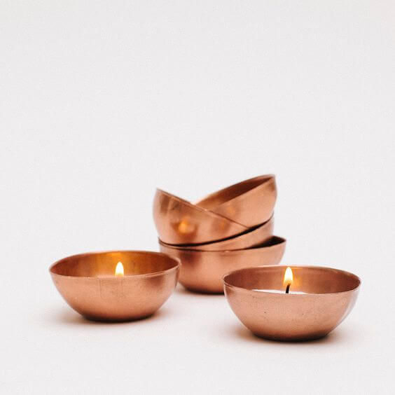 tiny copper bowl tea light holders