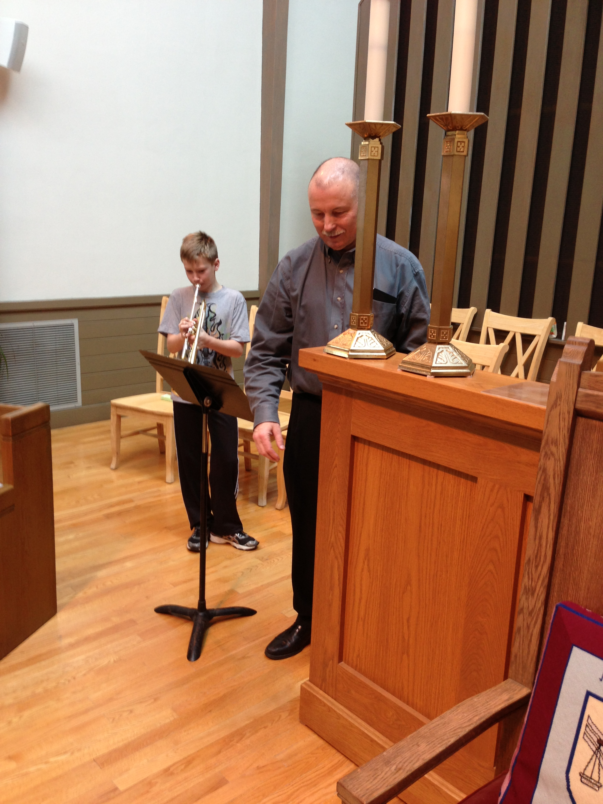 Practicing for Christmas service