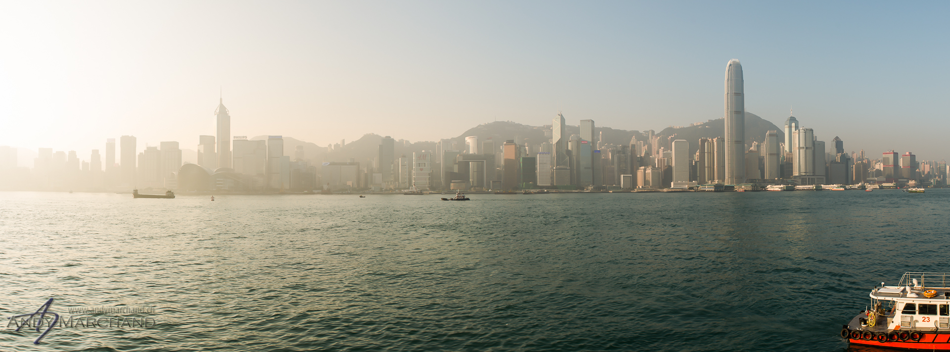 Hong Kong Skyline from Avenue Of Stars  (morning) 24mm, 1/250s, f /8.0, ISO 100, stitched