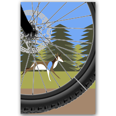 Here's another crude collage that started off with some Google image searching for a mountain bike wheel. The deer-like creature is from one of Eleanor's earlier illustrations. The understanding being that we would draw another appropriate animal in later.
