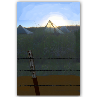 After some quick image searching online I found some barbed fencing that seemed appropriate to what I had in mind, plucked it out of that otherimage, and placed in the foreground. Then I painted in a little bit for the dirty gravel road.