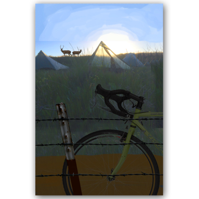 After a little more internet searching I found an appropriate bicycle image to use as well as some wildlife. Since all of this is for the sake of comping I don't see much harm in how the images were sourced. Everything becomes so highly stylized for the finished piece that it vaguely resembles itsoriginal reference. After this, I hand things off to Eleanor for her input, or for her to take her own pass at creating a vector image.