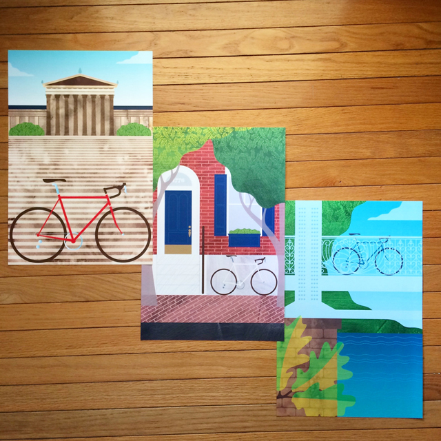 "Our new "" Philadelphia Bikes "" print set featuring the Philadelphia Museum of Art, Center City, and Fairmount Park."