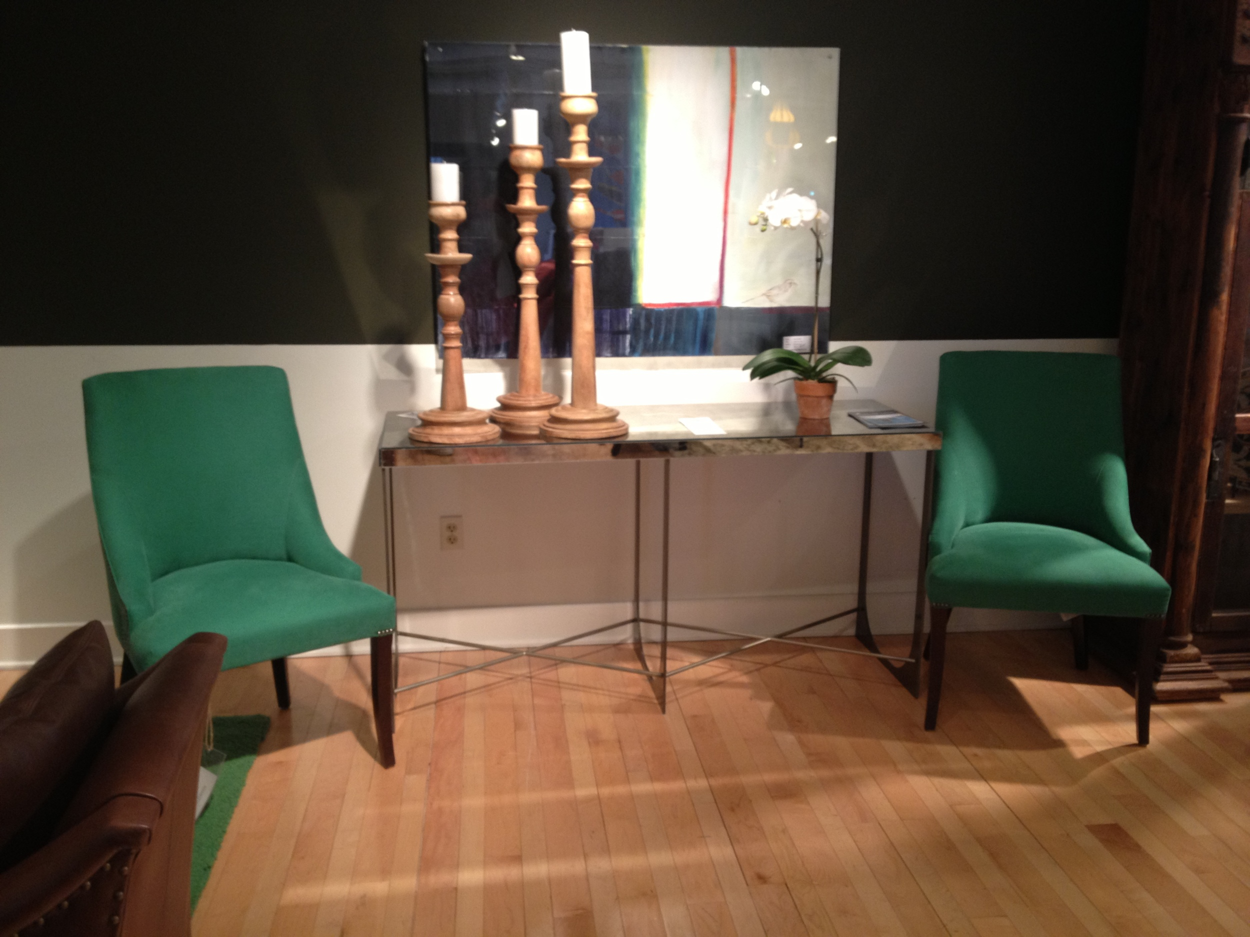 New dining room chairs showcase my favorite kelly green color. Although it can be done in any fabric.