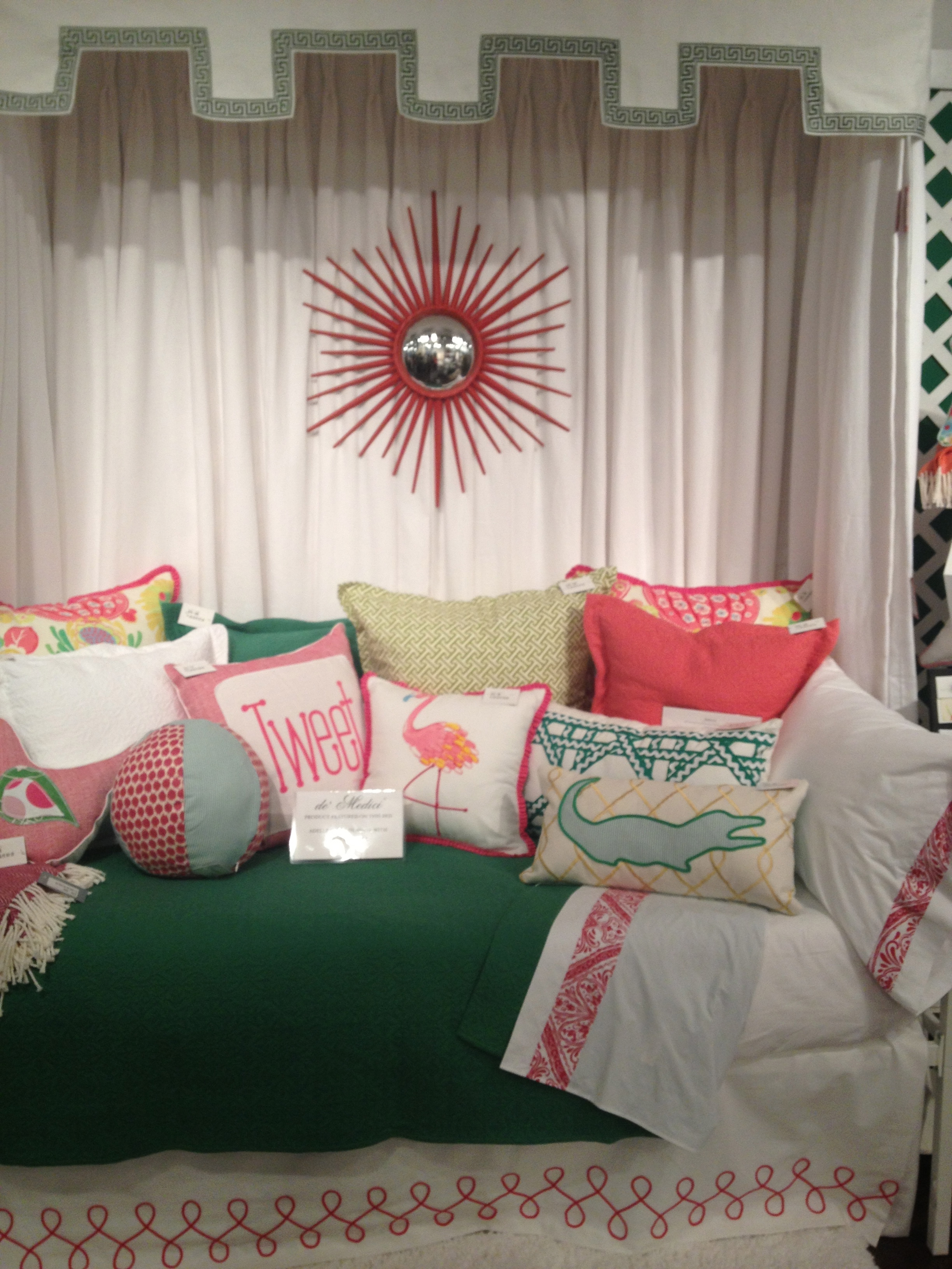 Fun bedding I saw at market. It's designed for a young lady but a few tweaks and could be perfect for women of all ages or a great happy guest room. www.saranobledesigns.com