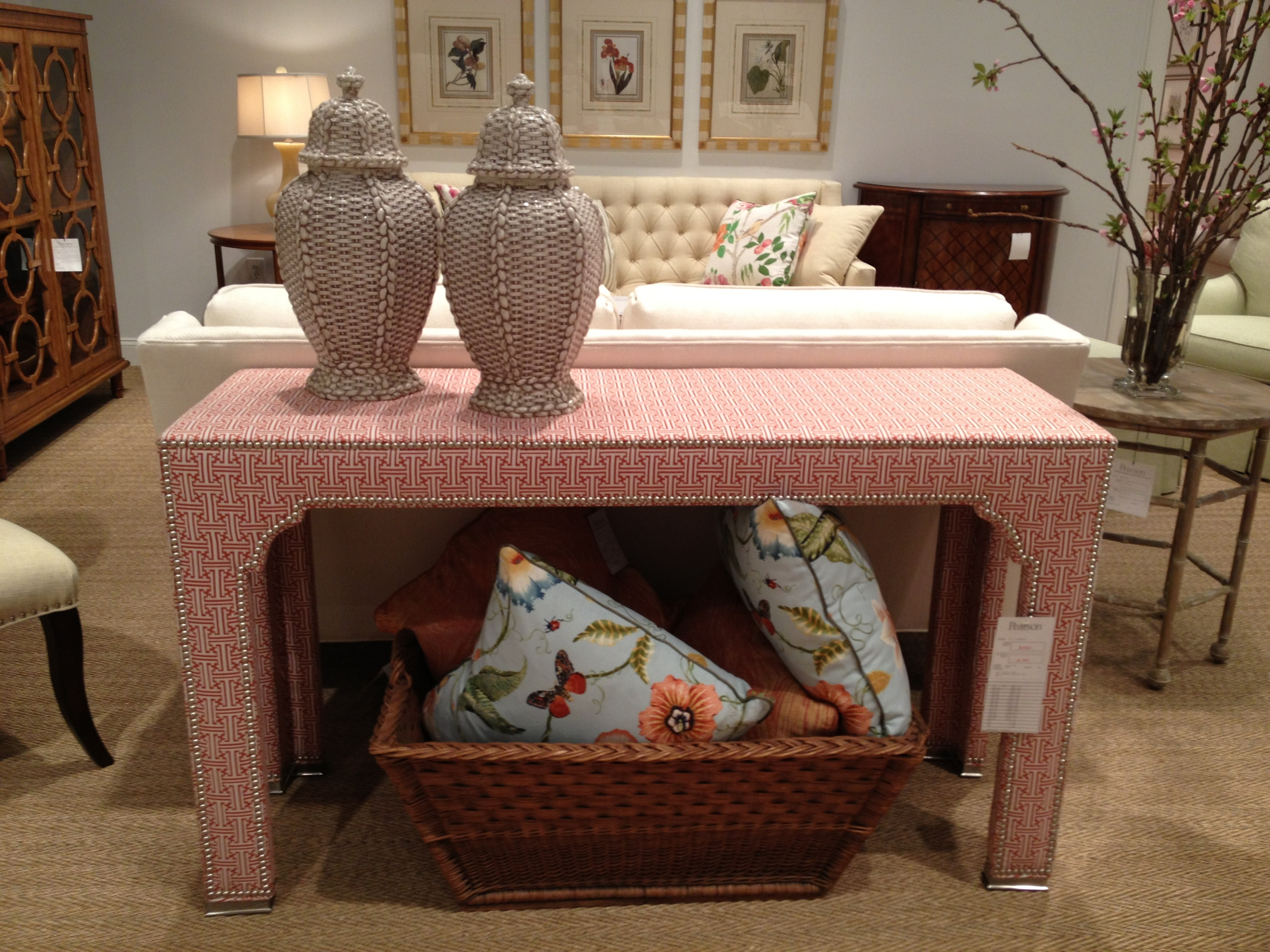 This fabric covered console with nailheads was a killer piece.  It was well done and unique.  www.saranobledesigns.com
