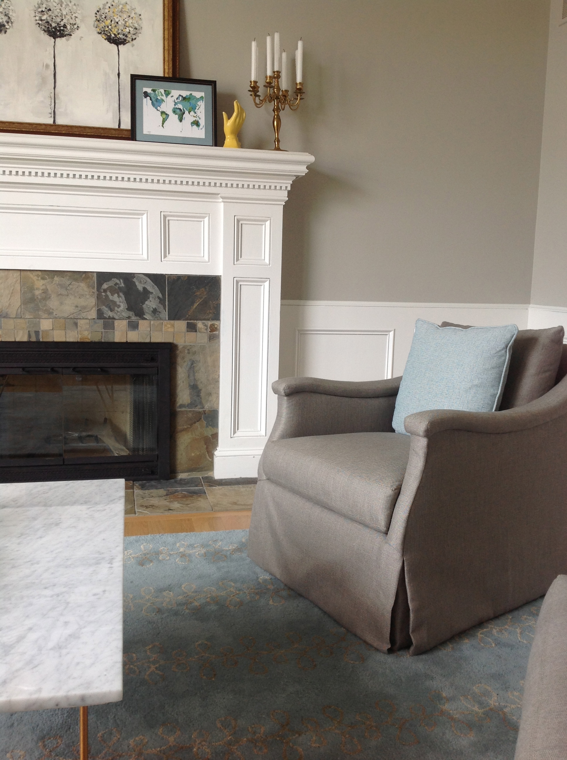 www.saranobledesigns.com - The Lunds living room showcasing one of my favorite swivel chairs.