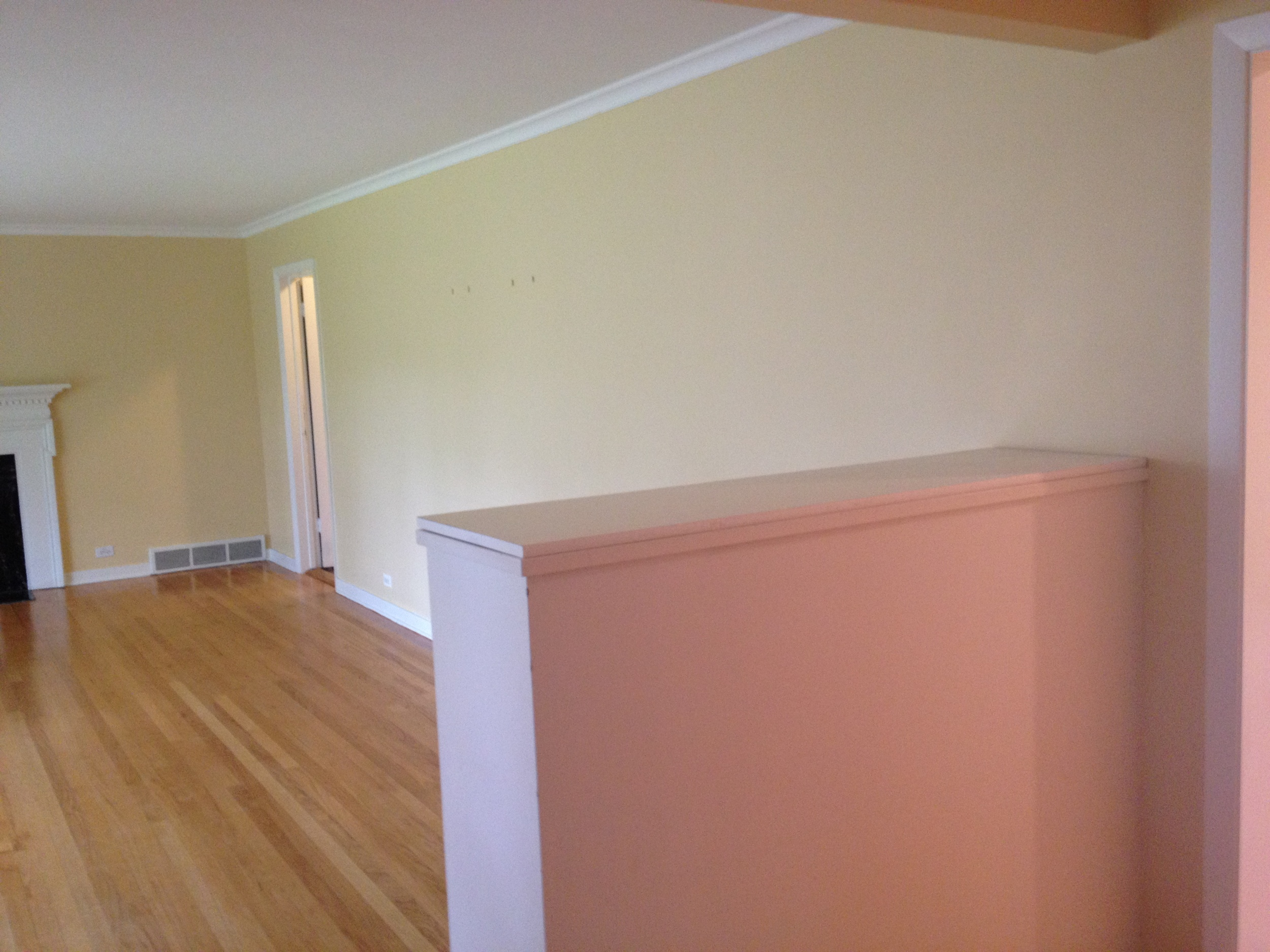 The front living room is huge. Currently there is no lighting.