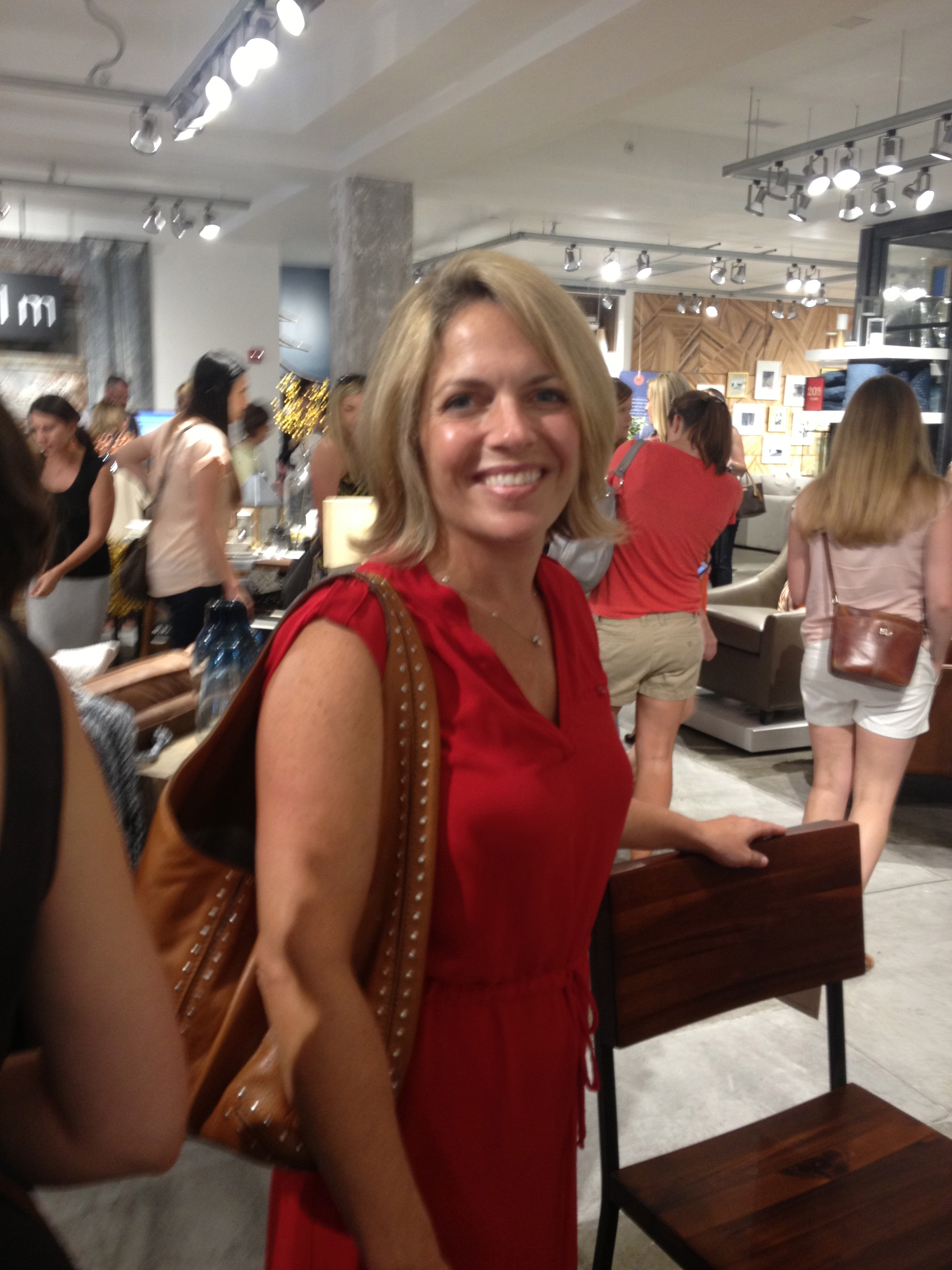 Jessica looking good at the West Elm opening in Kansas City which was a hard task because it was about 100 degrees with all those people in there.