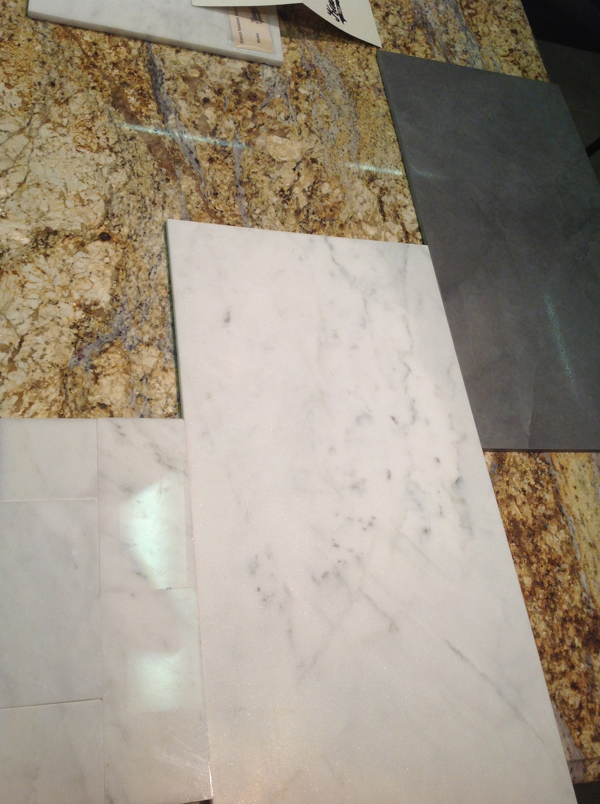 Master bath selections. A little uglier by the granite backdrop that doesn't go at all.