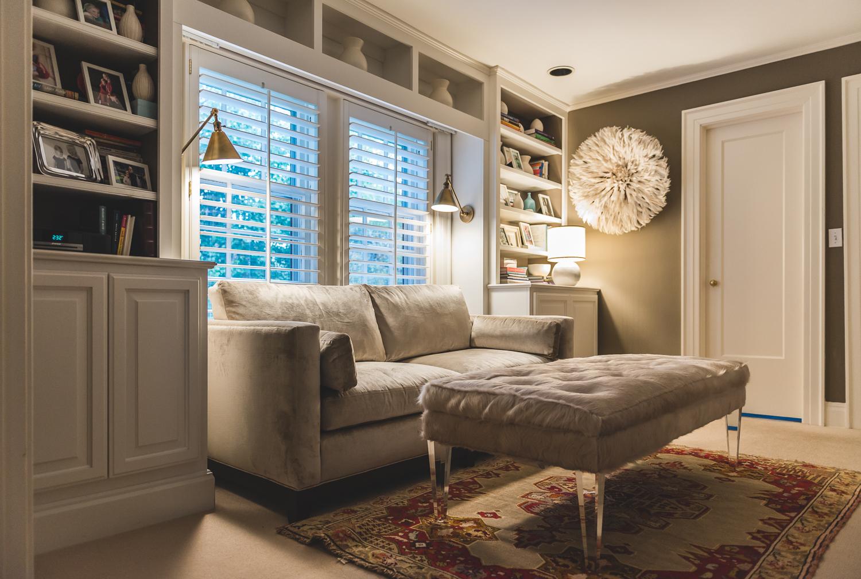 Kroh master sitting room done in rich neutrals. www.saranobledesigns.com