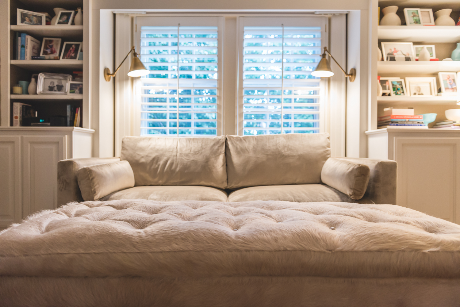 The large hide coffee ottoman table is like a bed of clouds. I love it! www.saranobledesigns.com