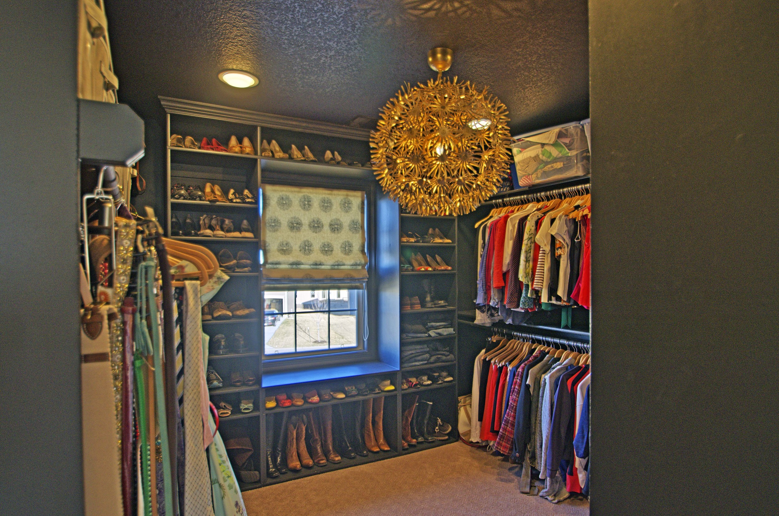 www.saranobledesigns.com My master closet done in black. A little bit of heaven for me.