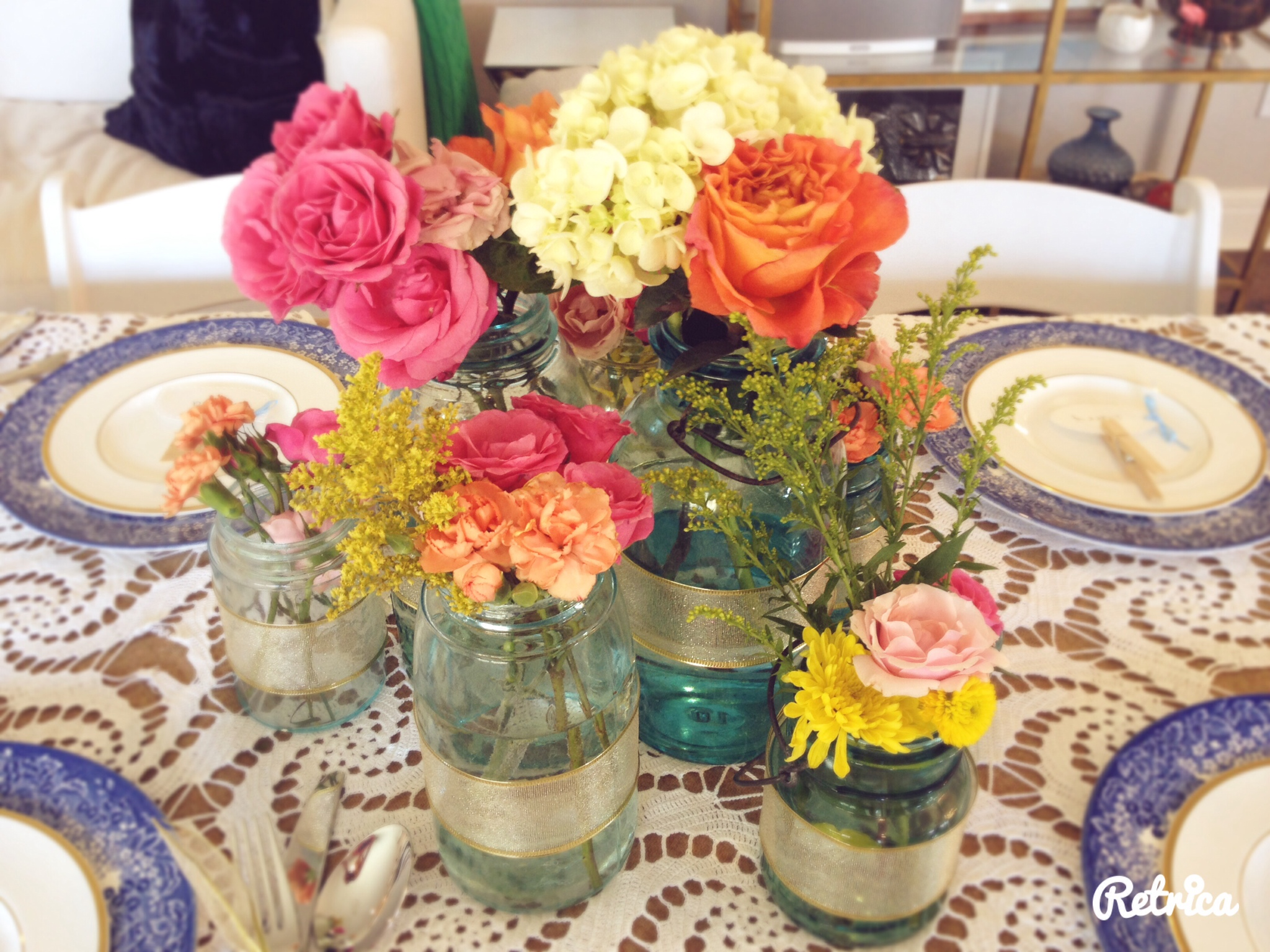 Ellie Noble's table was elegant with fun colors.