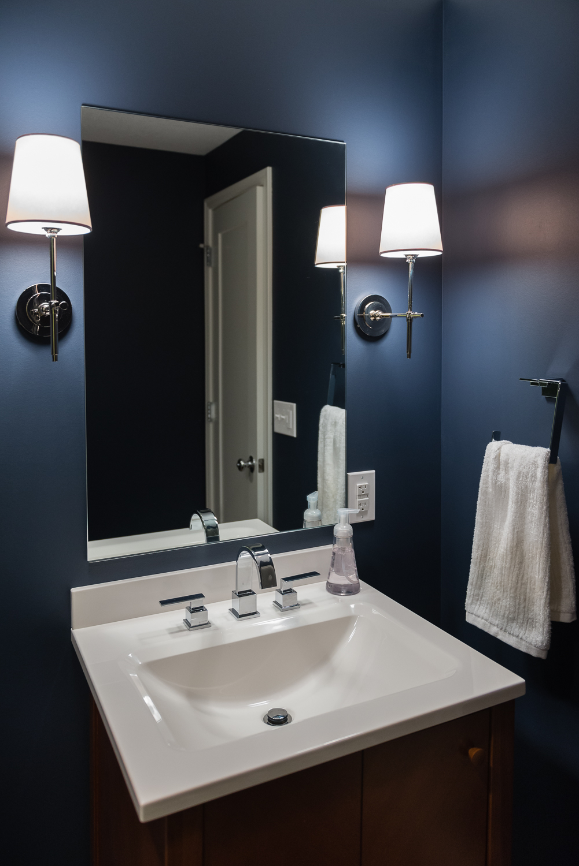 Basement bathroom vanity. www.saranobledesigns.com