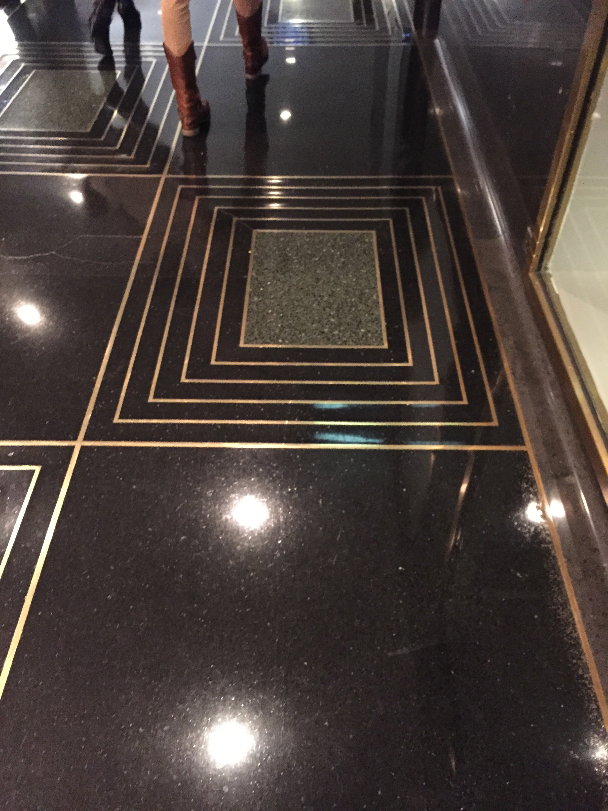 The NBC Studio floor was a tribute to my obsession with black and brass.  www.saranobledesigns.com