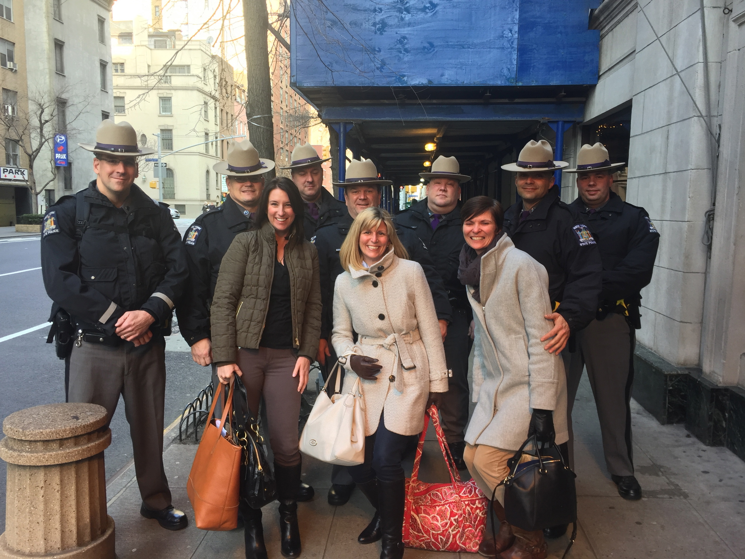 This is where we exited the cab on our arrival!  Safe in New York.  We are not sure why all the officers were there.  In all our giggling and managing of too many bags for a weekend we failed to ask.  But appreciated the kindness from the start in New York :)  www.saranobledesigns.com