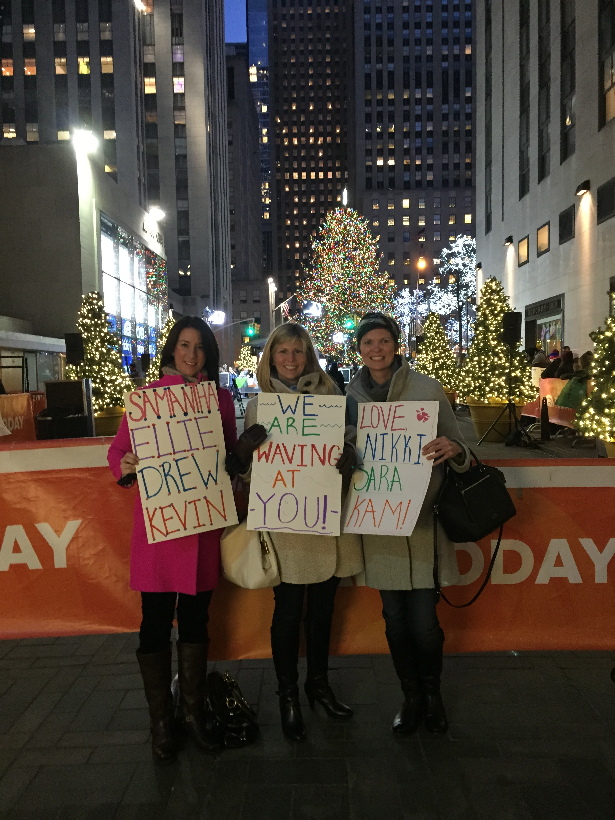 Nikki, Kam and I actually went to New York about 10 years ago for the New York gift and home decor market.  We went to the Today show crowd with similar signs and Al Rocker actually talked to each of us on the air.  We were famous.  So we went for a reunion with more family members to wave at on the signs this time and just got a wave but if you look really close and pay attention you can see us waving in the crowd once.  Success!  www.saranobledesigns.com  For the record this ridiculously early event is always on my list and Nikki goes with about the 1/2 the excitement and Kam goes because she loves me.