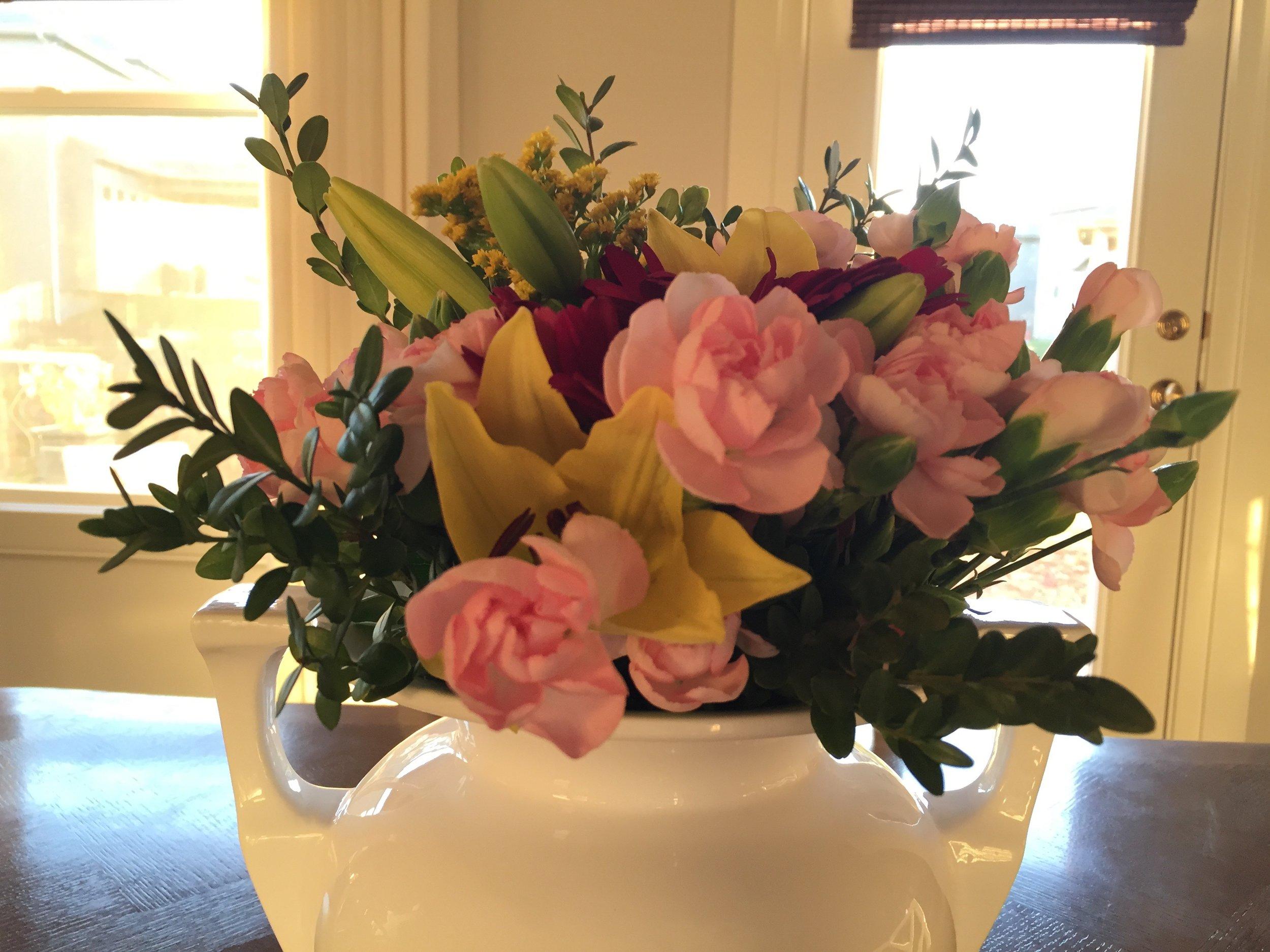 S & B white vase