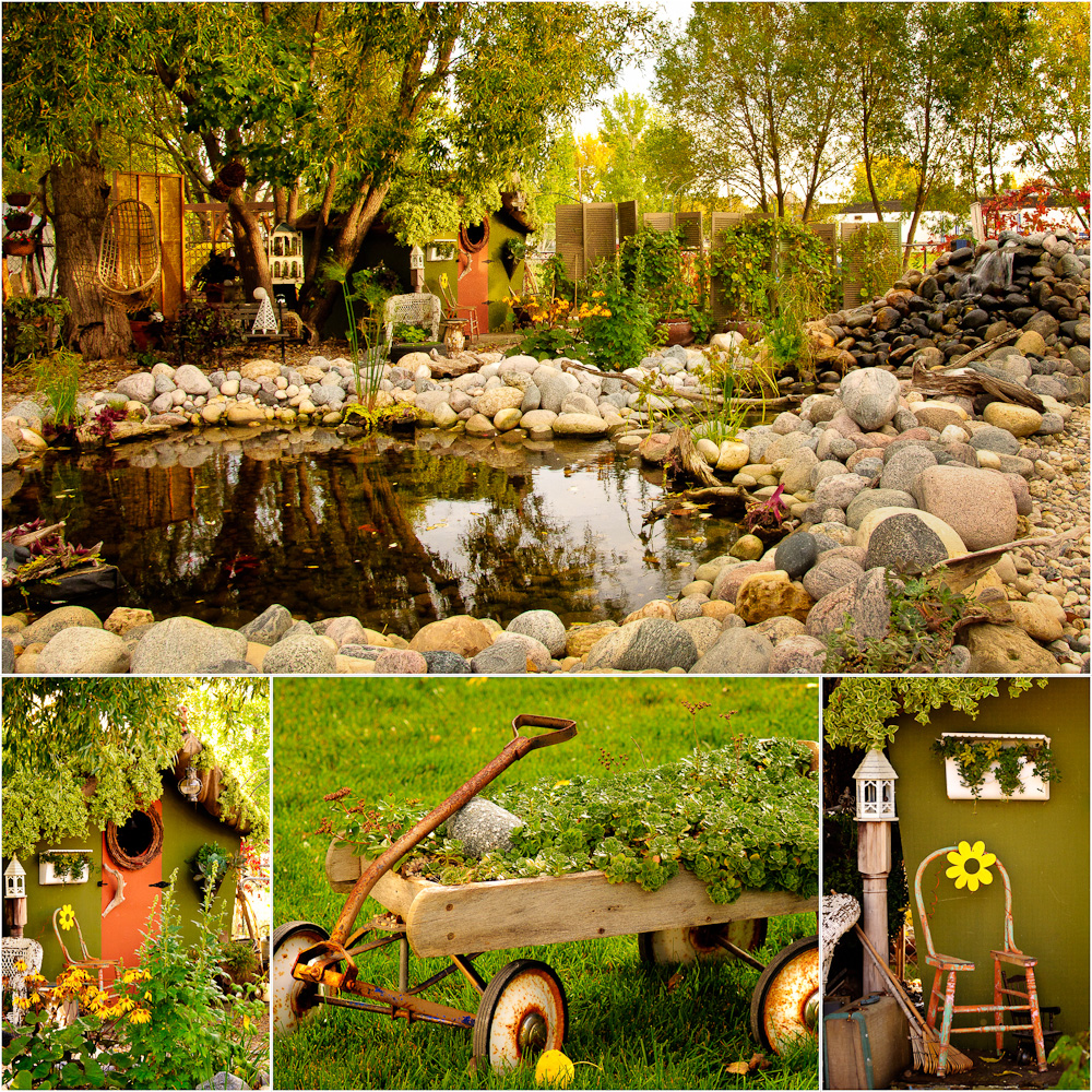 Patti Brisebois' Manitoba zone 3 garden. The pond is complete with koi and goldfish, birds that wade in the stream and a calming waterfall.